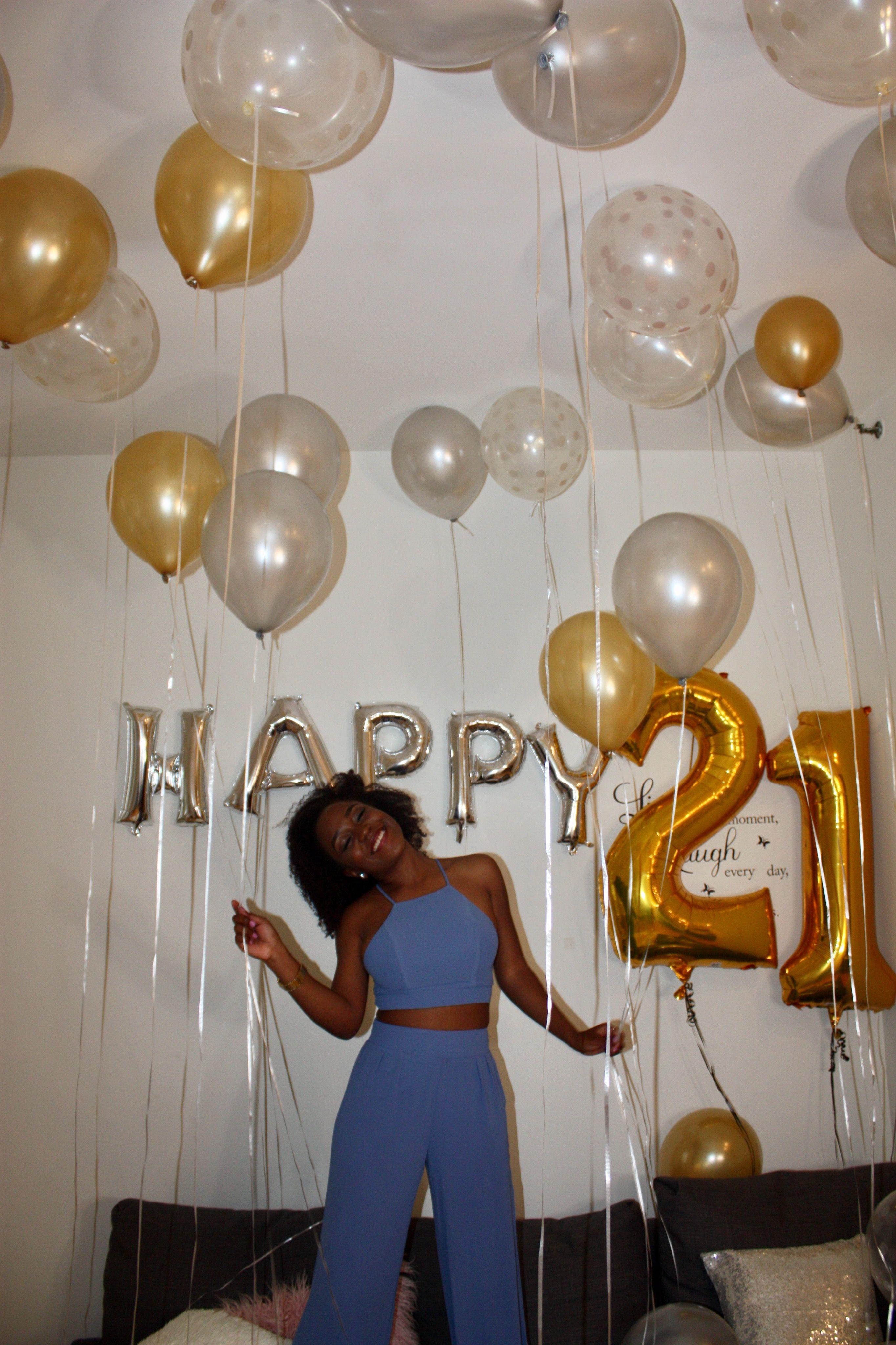 21 Bday Birthday Decoration Photoshoot White Gold Birthday