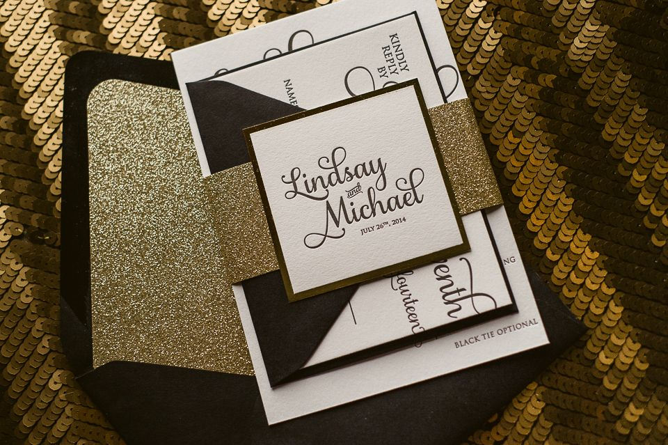 Black And Gold Black Tie Wedding Invitations