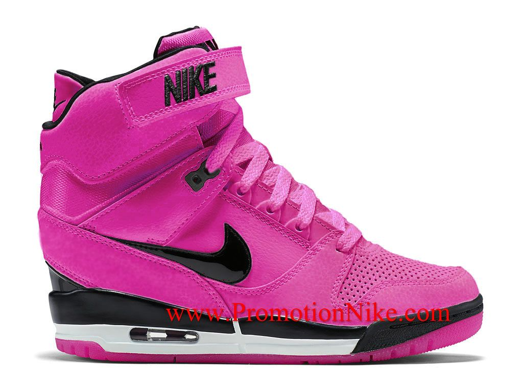 best website b724a 9d9b5 Nike Air Revolution Sky Hi GS Rose et Noir Femme 599410-903