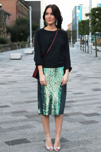 Green Sequin H Trend Skirts, Crimson Trio Celine Bags, H Earrings ...