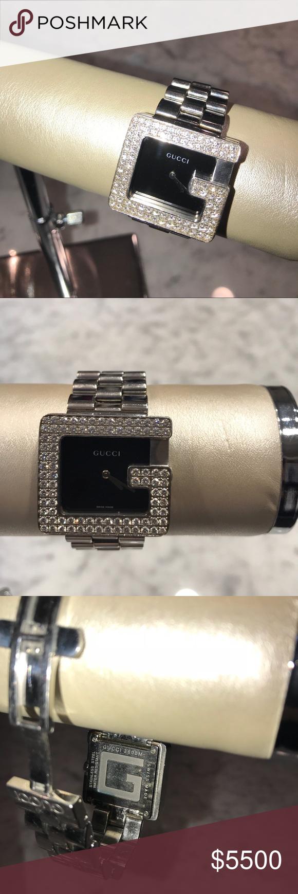 deec05b8358 Gucci Diamond Bezel G Watch Men s Gucci 3600M Series Diamond Bezel G Watch.  Made of Stainless Steel with Swiss Made Battery Quartz Movement
