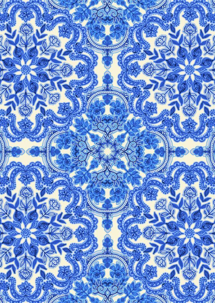cobalt blue china white folk art pattern art print more pattern