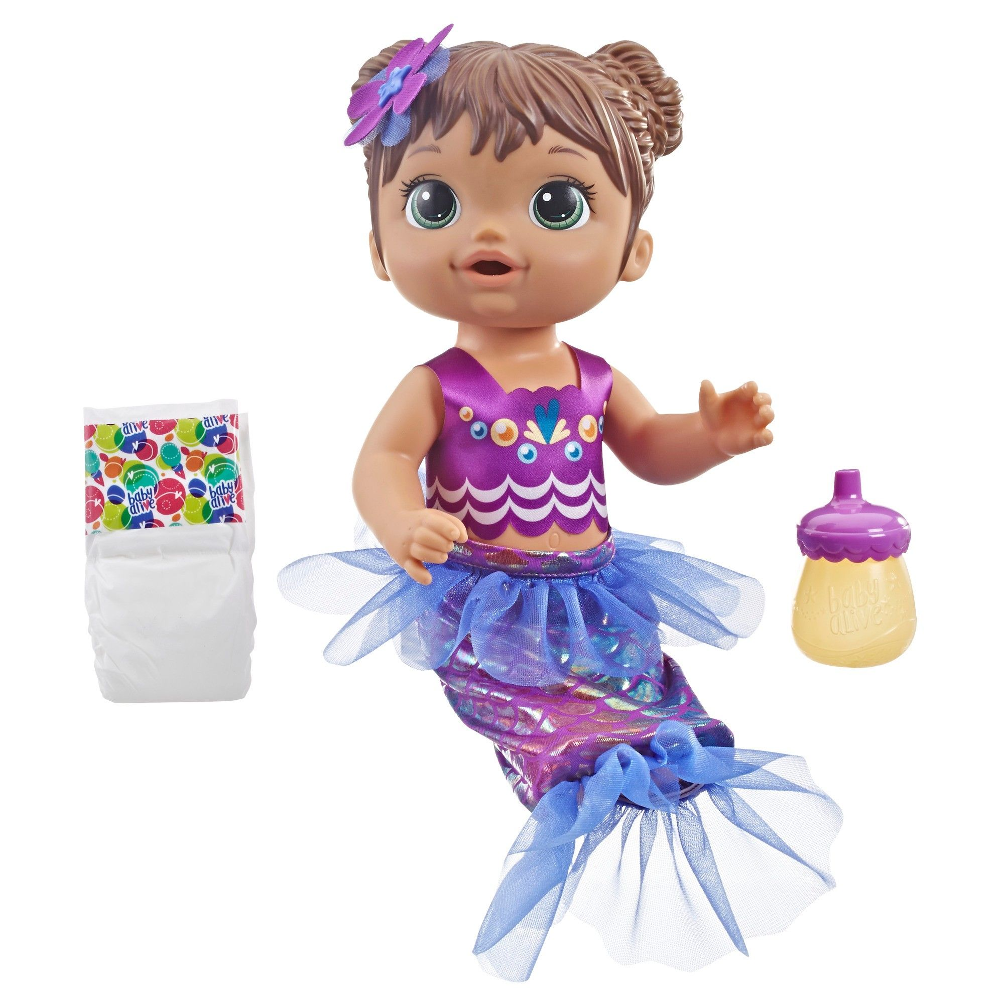 Baby Alive Shimmer 'n Splash Mermaid Baby Doll Brown