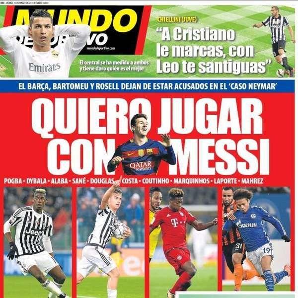 Jornal catalão traz quatro jogadores que 'querem jogar com Messi'