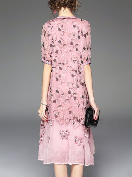 Pink Two Piece Beaded Embroidered Half Sleeve Midi Dress