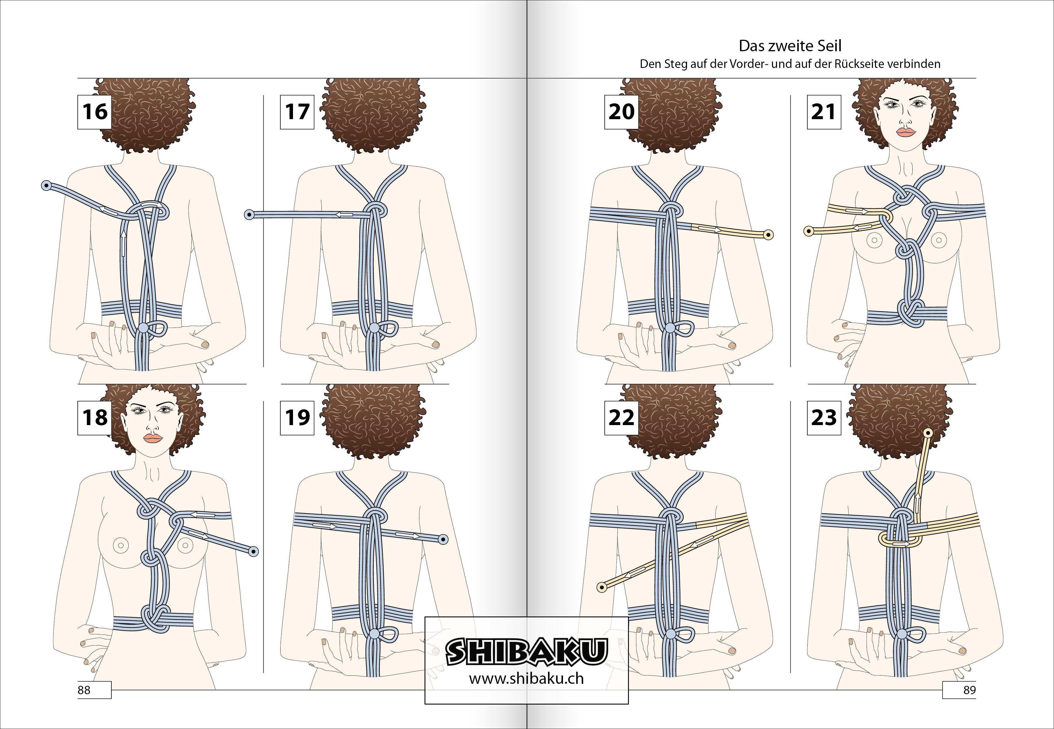 Hishi-shibari => Buchseite 88/89 aus Shibaku · Takate-kote ...