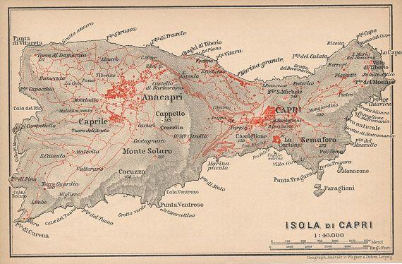 1909 Isle Of Capri Italy Antique Map 1903 Pinterest Map