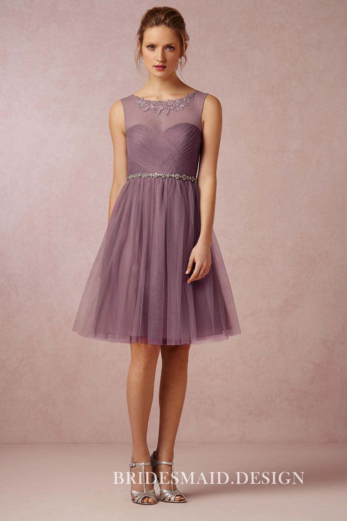Pastel purple chiffon short bridesmaid dress with tulle overlay. Sleeveless  illusion neckline with lace appliques. 0d5fed878a8b