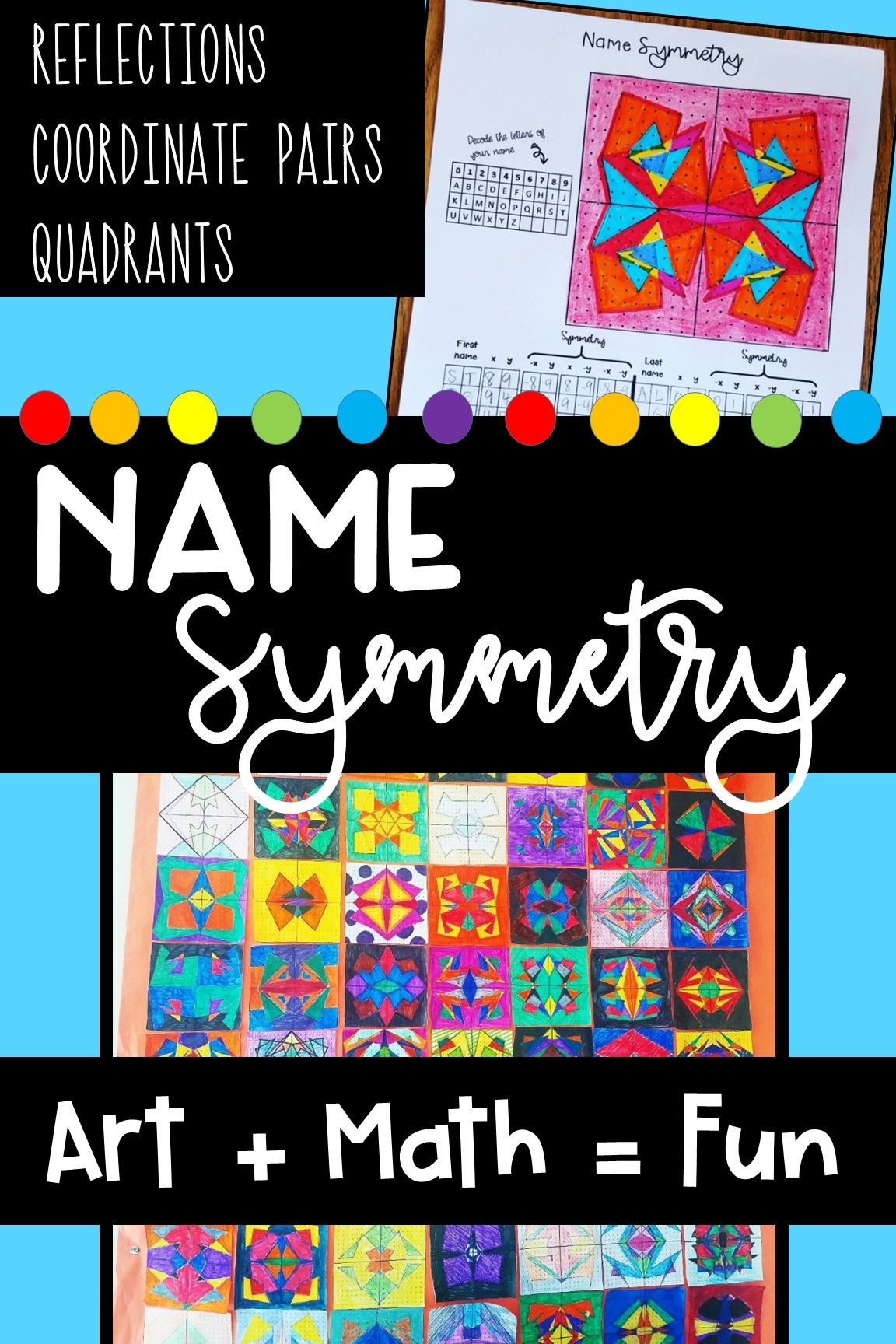 Looking For A Fun Way To Incorporate Art In Your Math Class Students Have Fun With This Activity By Prac Math Art Activities Symmetry Activities Math Projects [ 1728 x 1152 Pixel ]