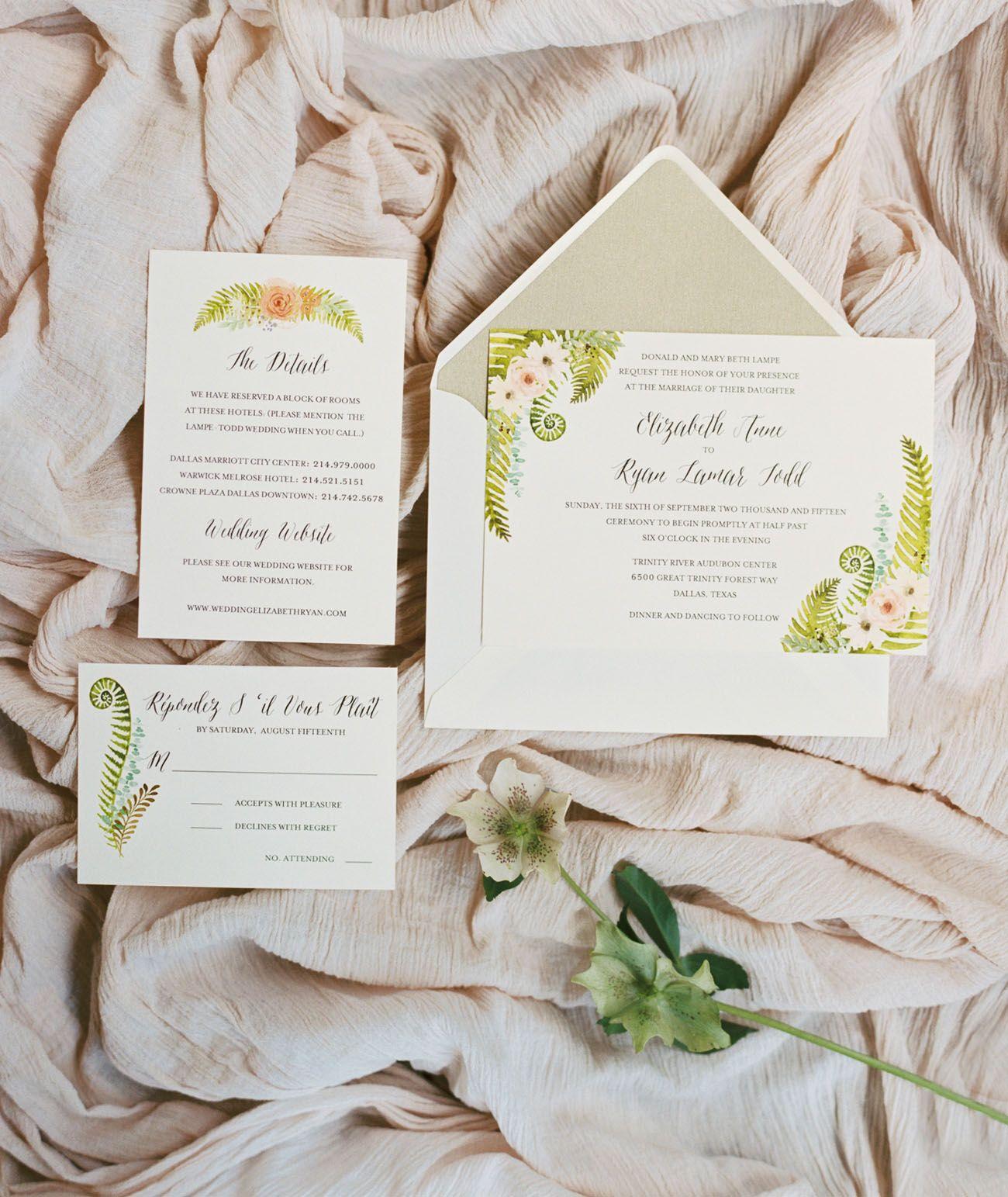 Dallas audubon center wedding elizabeth ryan floral invitation floral invitation stopboris Choice Image