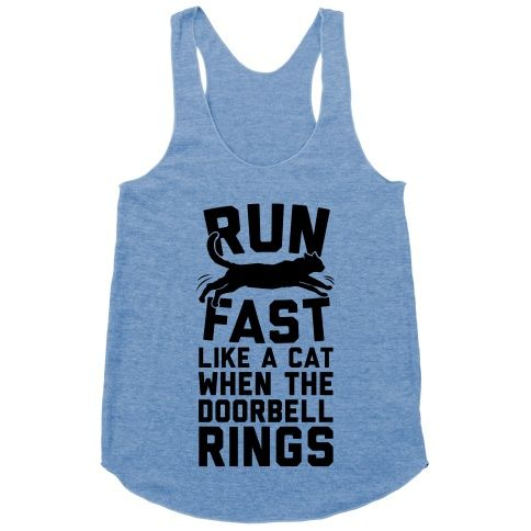 Run Fast Like A Cat #running #funny #workout #fitness #cat #Trendy #cute #racerback #tank #meow