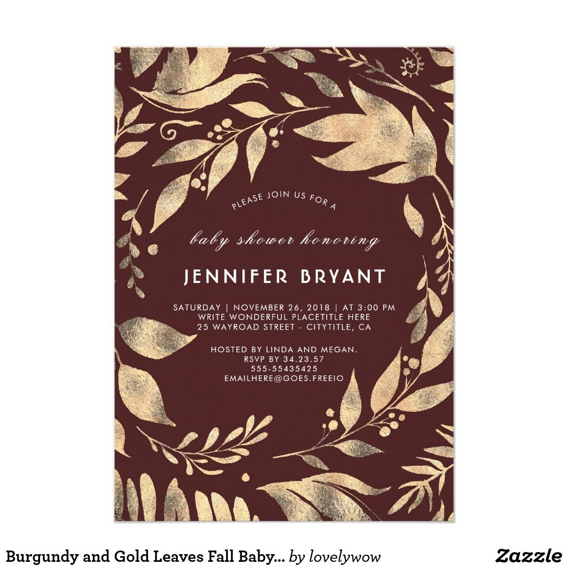 Luxury fall baby shower invitation pictures resume ideas burgundy and gold leaves fall baby shower mom and kids stuffs and filmwisefo