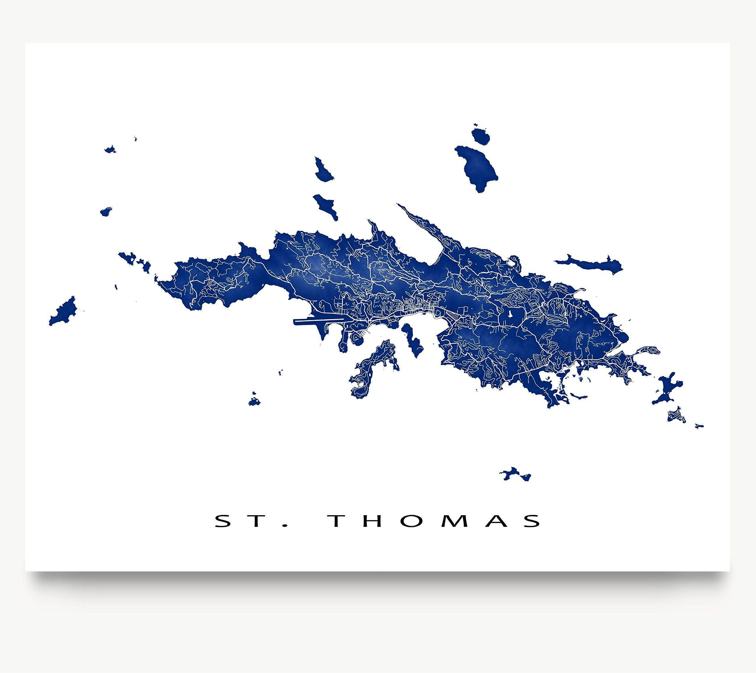 St Thomas Map Art Print US Virgin Islands USVI Caribbean Island - Us photo map mat