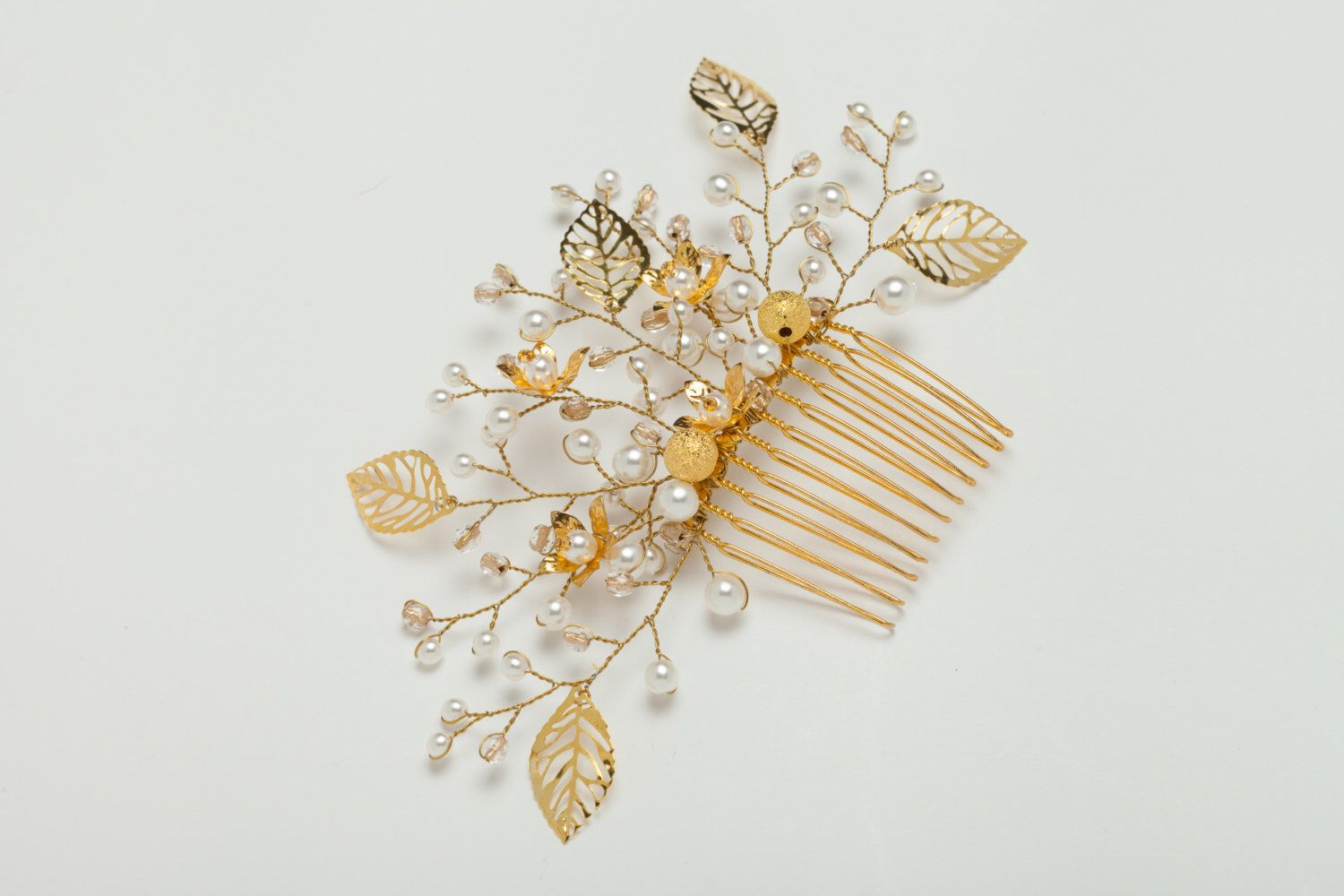 Gold leaves wedding comb pearl bridal hair comb with crystals floral