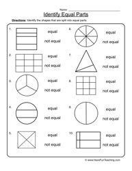 Fractions Equal Parts Worksheet 2 | Worksheets, Math and Teacher