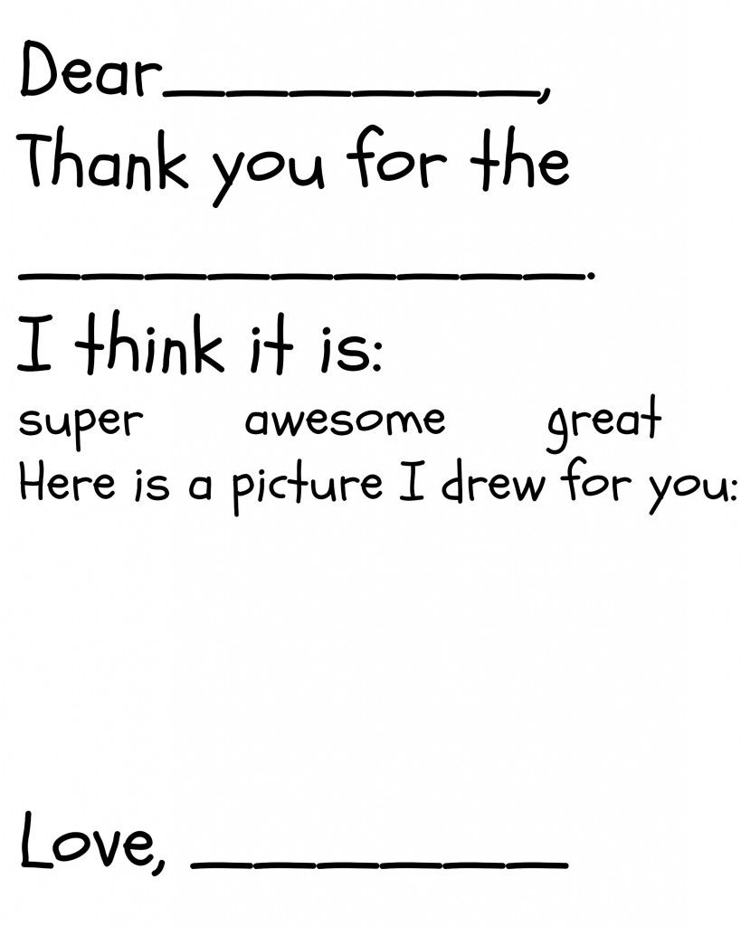 Free childrens thank you printable the happier