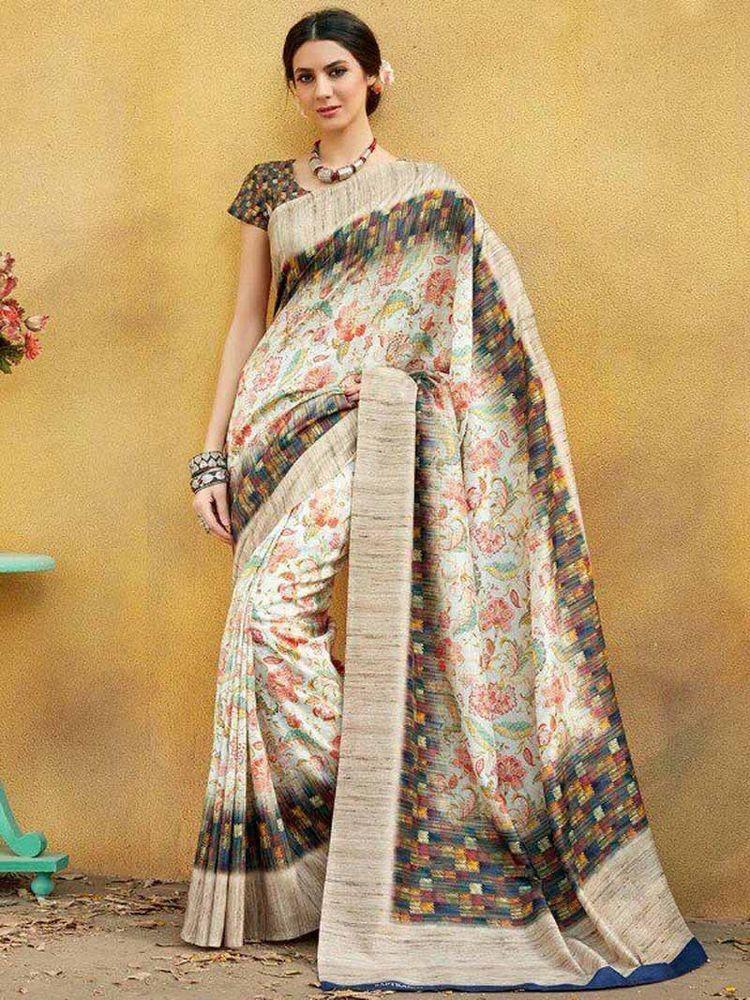 Indian Multi Digital Print Border Bollywood Sari Tussar Silk Party Wear Saree