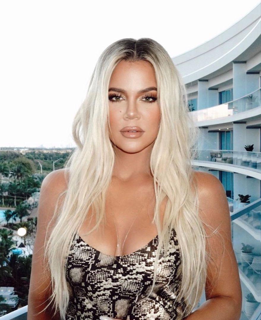 Khloe Kardashian Long Hair Platinum Blonde Hair Color