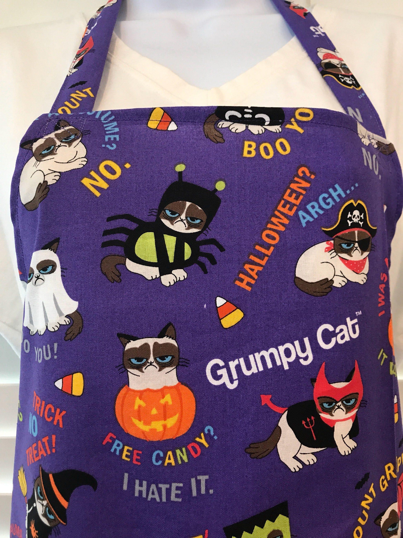Grumpy Cat Apron / Grumpy Cat Halloween Costume Apron