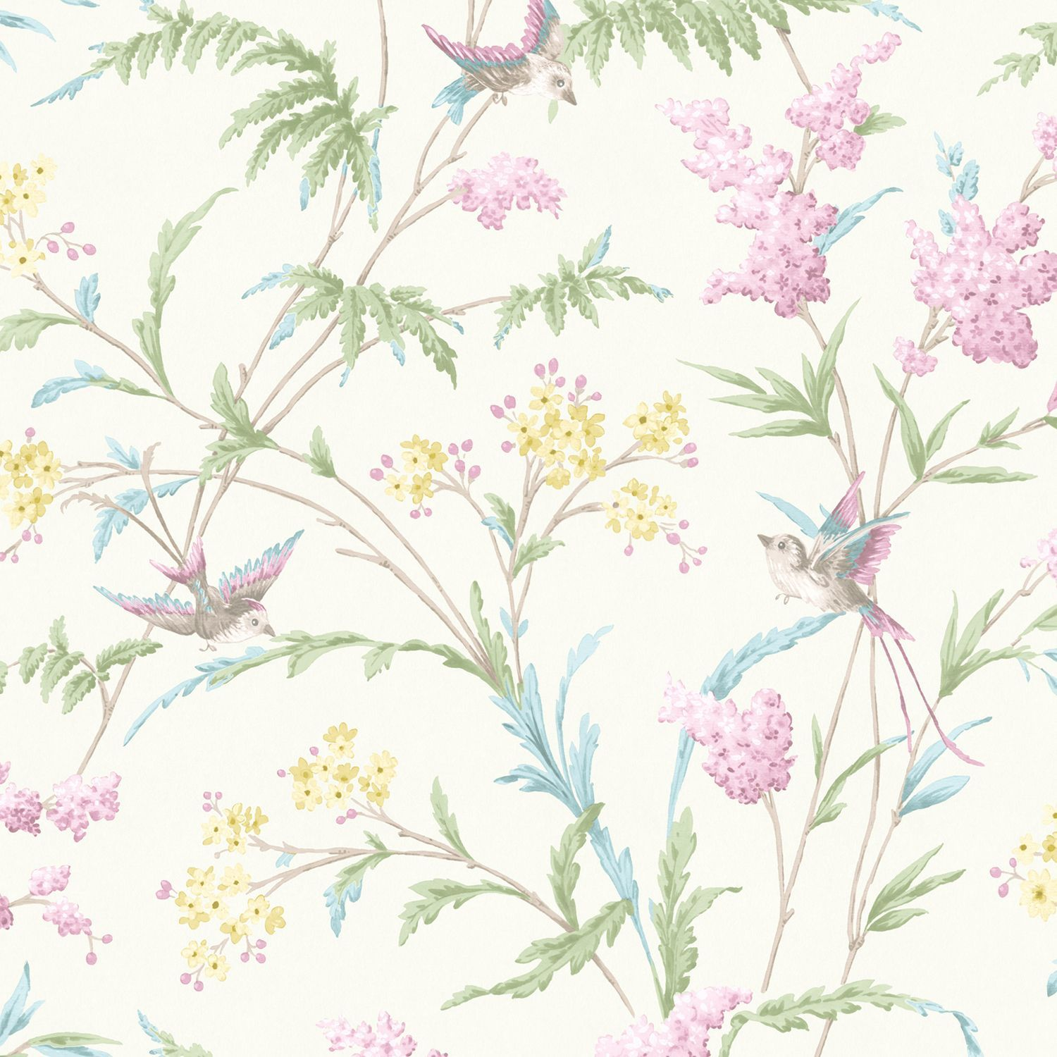Hailey Cream Pink Floral Birds Glitter Highlight Wallpaper