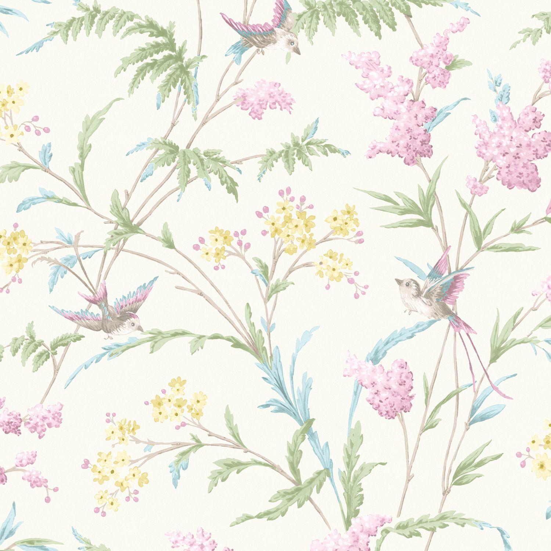 Hailey Cream Pink Floral Birds Glitter Highlight Wallpaper