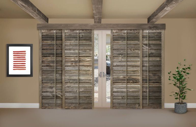 Reclaimed Wood Shutters On A Sliding Glass Door In Phoenix For The