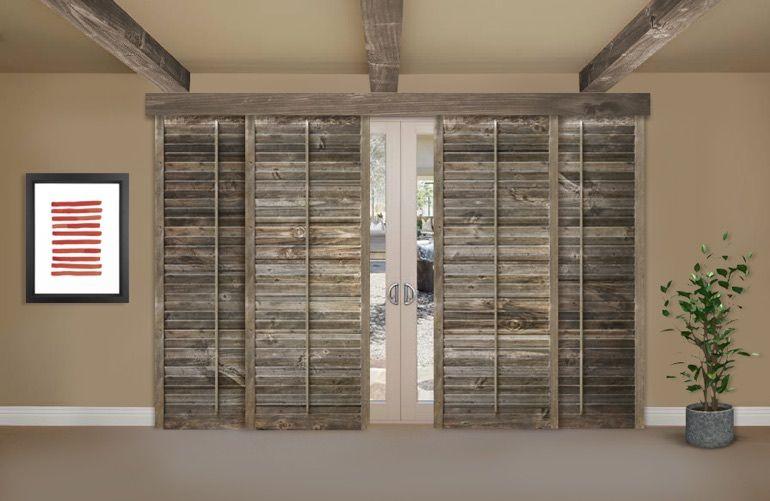 Reclaimed Wood Shutters On A Sliding Glass Door In Phoenix