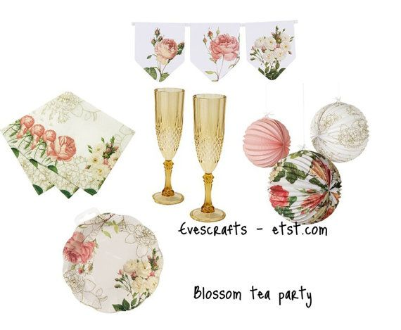 Garden Tea Party, Party Paper Plates, Matching Birthday Party Set, High Tea  Invatation