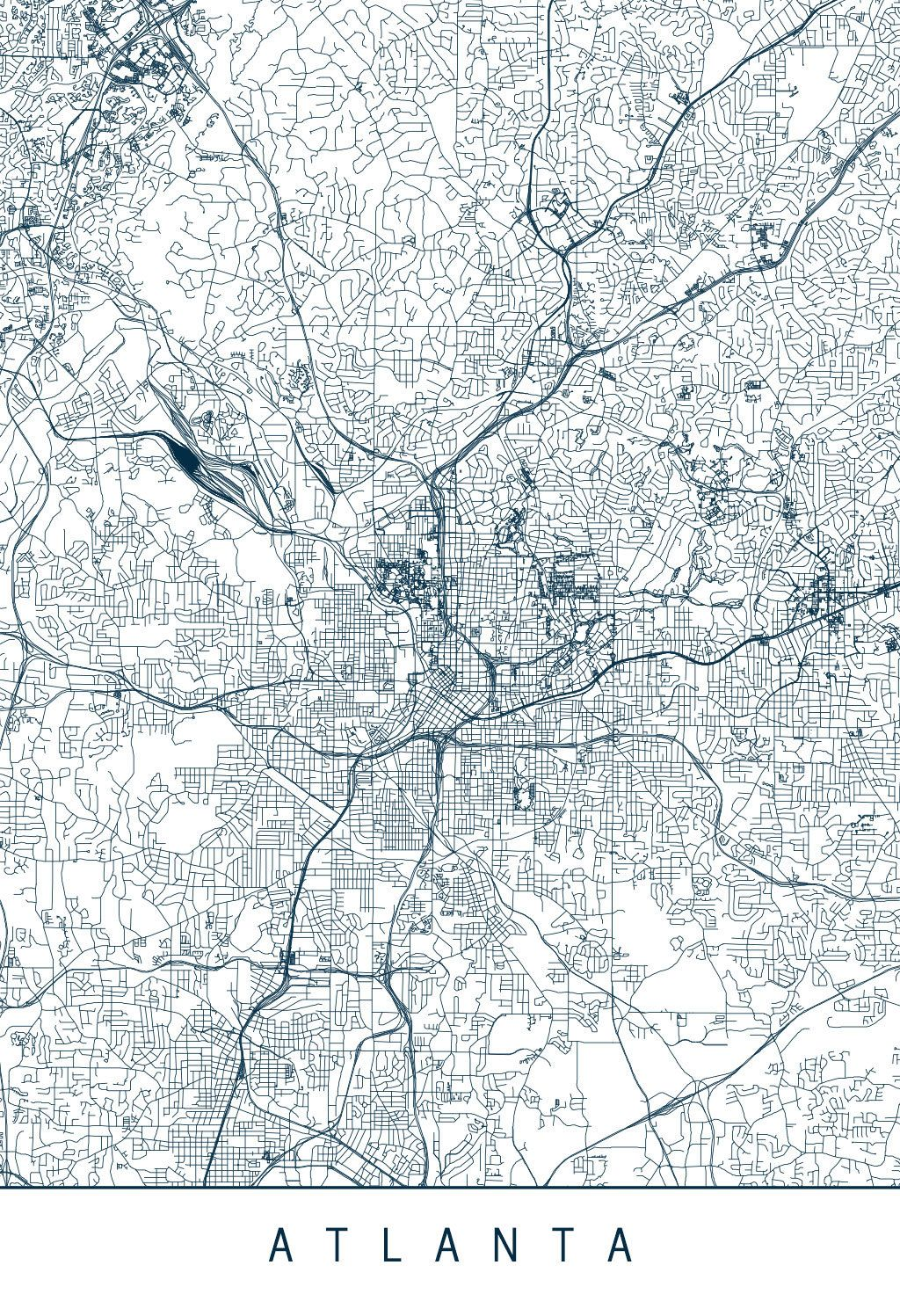 Karte / Map ~ Atlanta, Georgia - Vereinigte Staaten von Amerika ...
