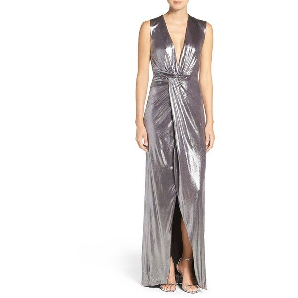 b03295596b5 Women's Halston Heritage Twist Front Metallic Jersey Gown (1,325 PEN) ❤  liked on Polyvore