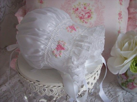 Little Baby Bonnet Handsmocked with Pink by decidedlyromantic, $45.00