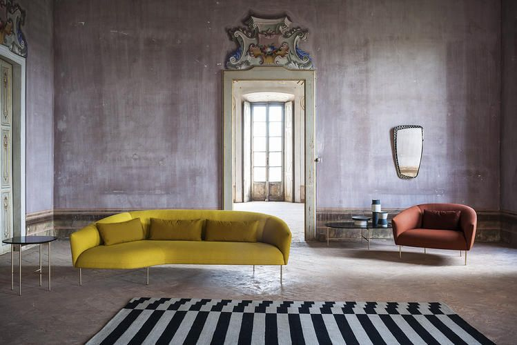 Roma Tacchini Fabric Sofa Design Milan Furniture Chaise Lounge Sofa