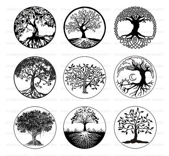 tree of life black and white tree clipart digital download printable download 1 inch circle. Black Bedroom Furniture Sets. Home Design Ideas