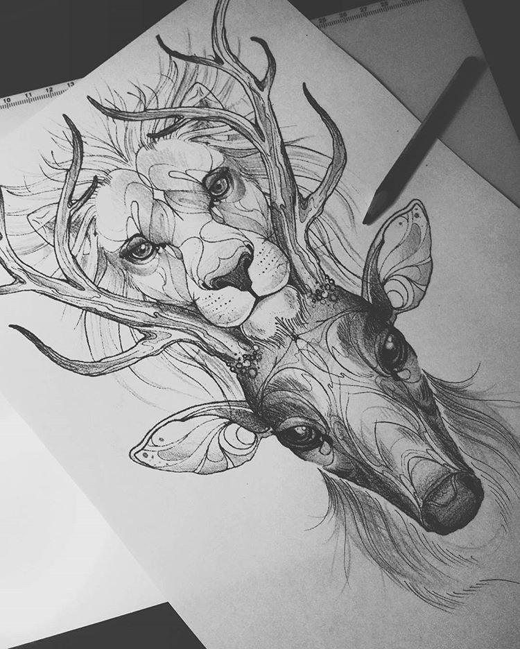 #budapesttattoo #ladytattooers #customdesign #tattoodesign #sketch #oneofakind #lion #deer #tattoodrawings