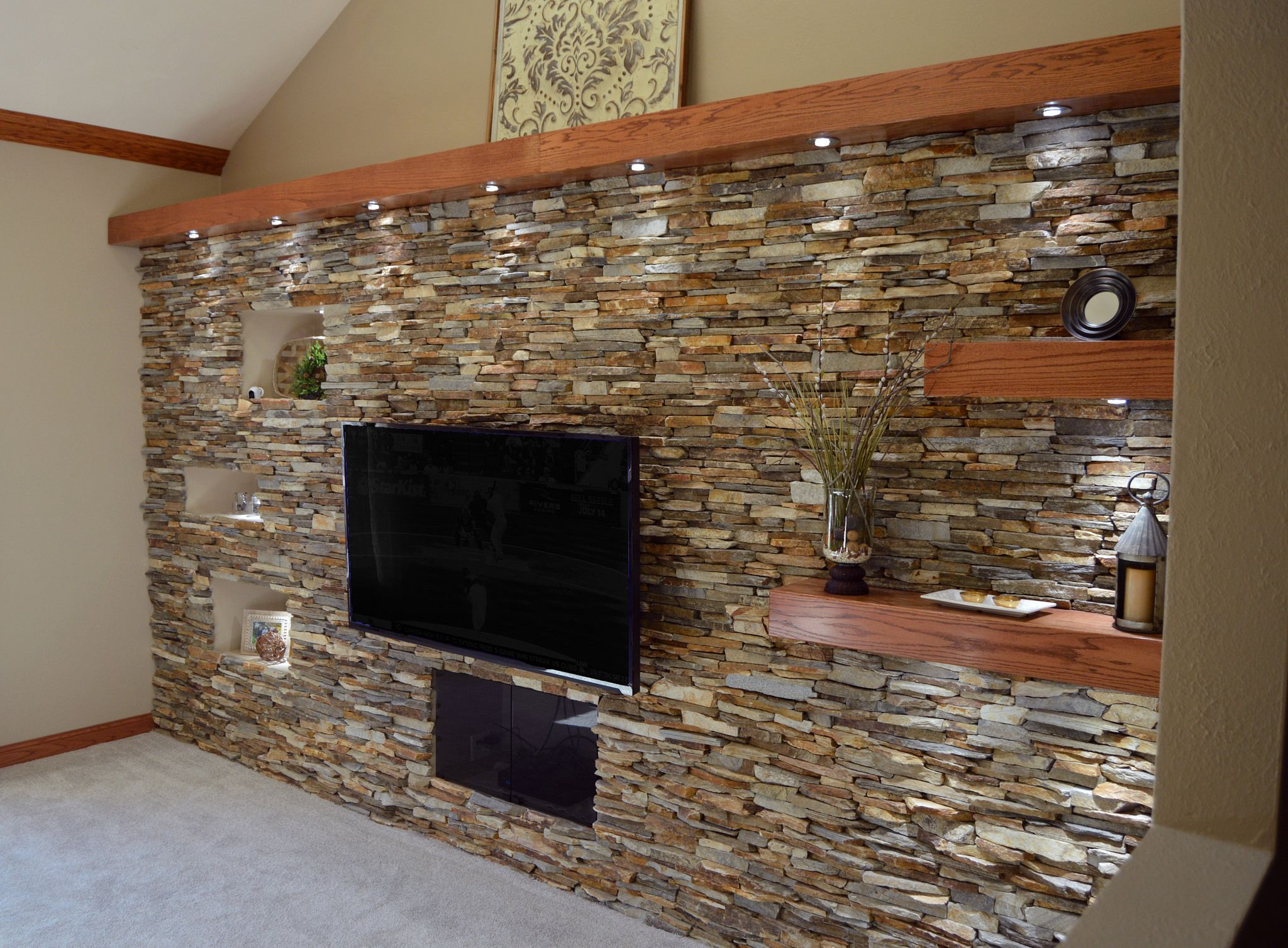 Ledgestone Fireplace Surround Interior Stone Veneer Mantel Floating Shelves Stone Accent Walls Stone Walls Interior Faux Stone Panels