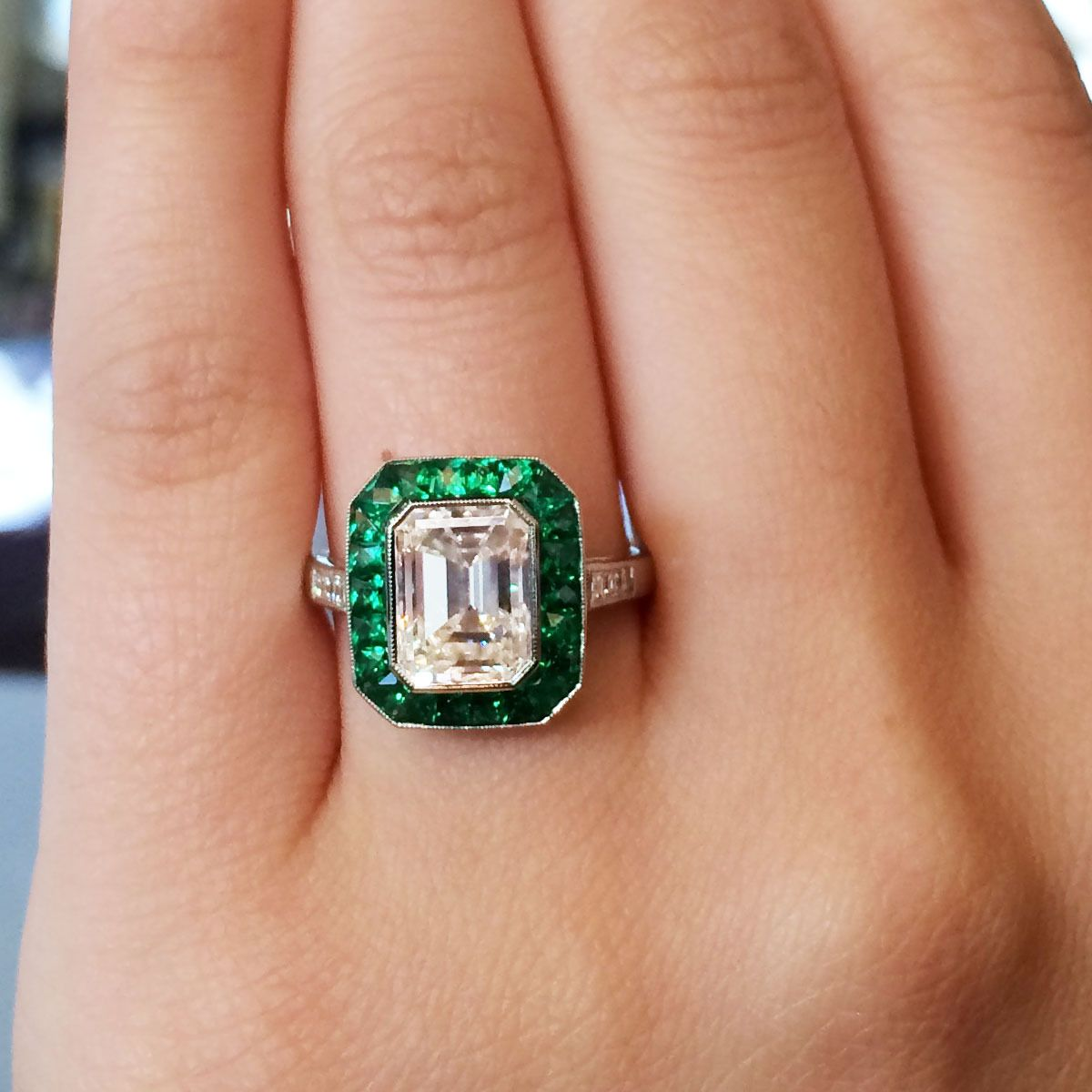 2.51 Carat Emerald Cut Diamond Emerald Halo Platinum Engagement Ring