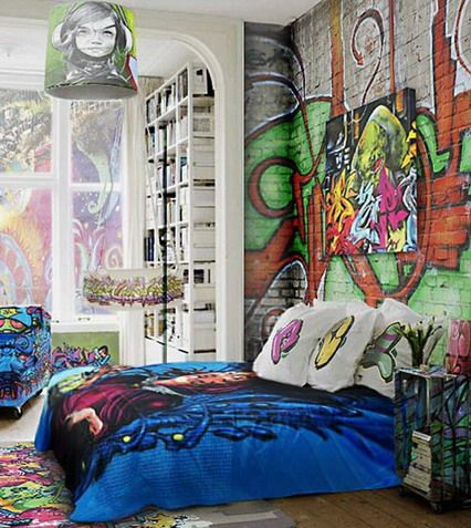 Brick walls decorating with graffiti in cool bedroom wall Red bedroom wall painting ideas