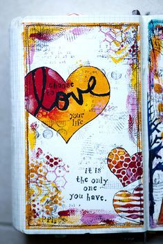 Link to karenika`s art journal pages. Incredibly inspiring artist. Also check out the website for photography, scrapbooking or yearly projects.. Or mere inspiration.