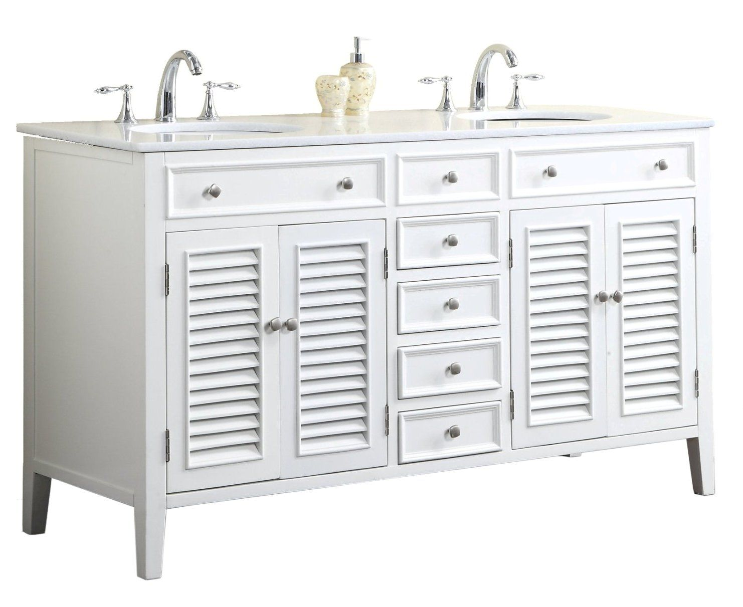 Adelina 60 Inch Antique White Double Sink Bathroom Vanity Marble Top