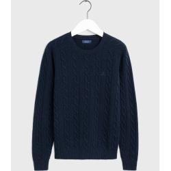 Photo of Gant Lambswool Zopfmusterpullover (blau) GantGant