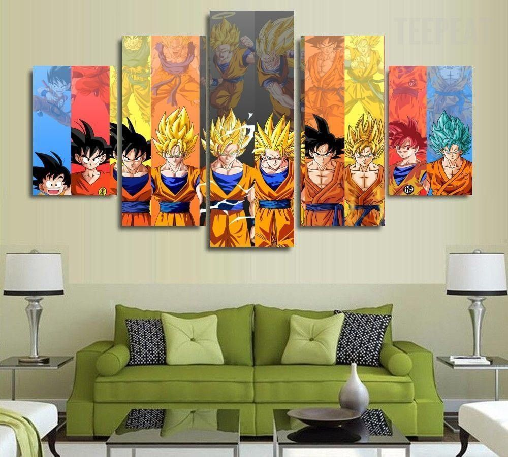 Son goku transformations 5 piece canvas painting in 2019