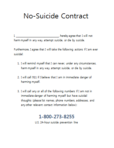 No Suicide Contract For Therapy Practices  Therapist Tools
