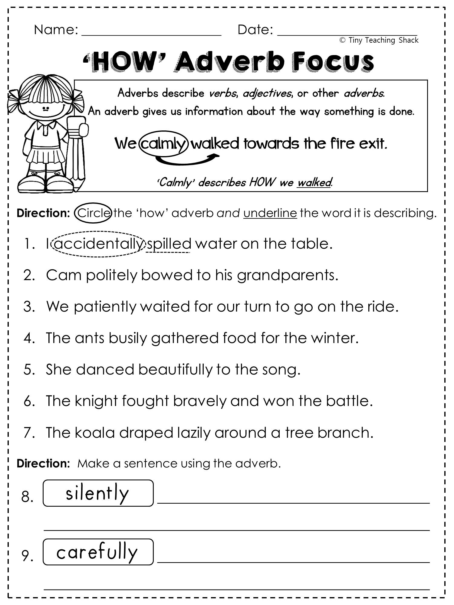 FREE adverb worksheet Fun with Literacy My TPT – Adverbs Worksheet
