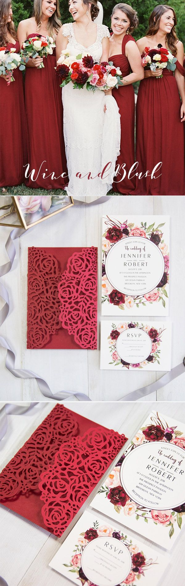 Stunning red and burgundy rose floral laser cut wedding stunning red and burgundy rose floral laser cut wedding invitations ewws203 monicamarmolfo Gallery