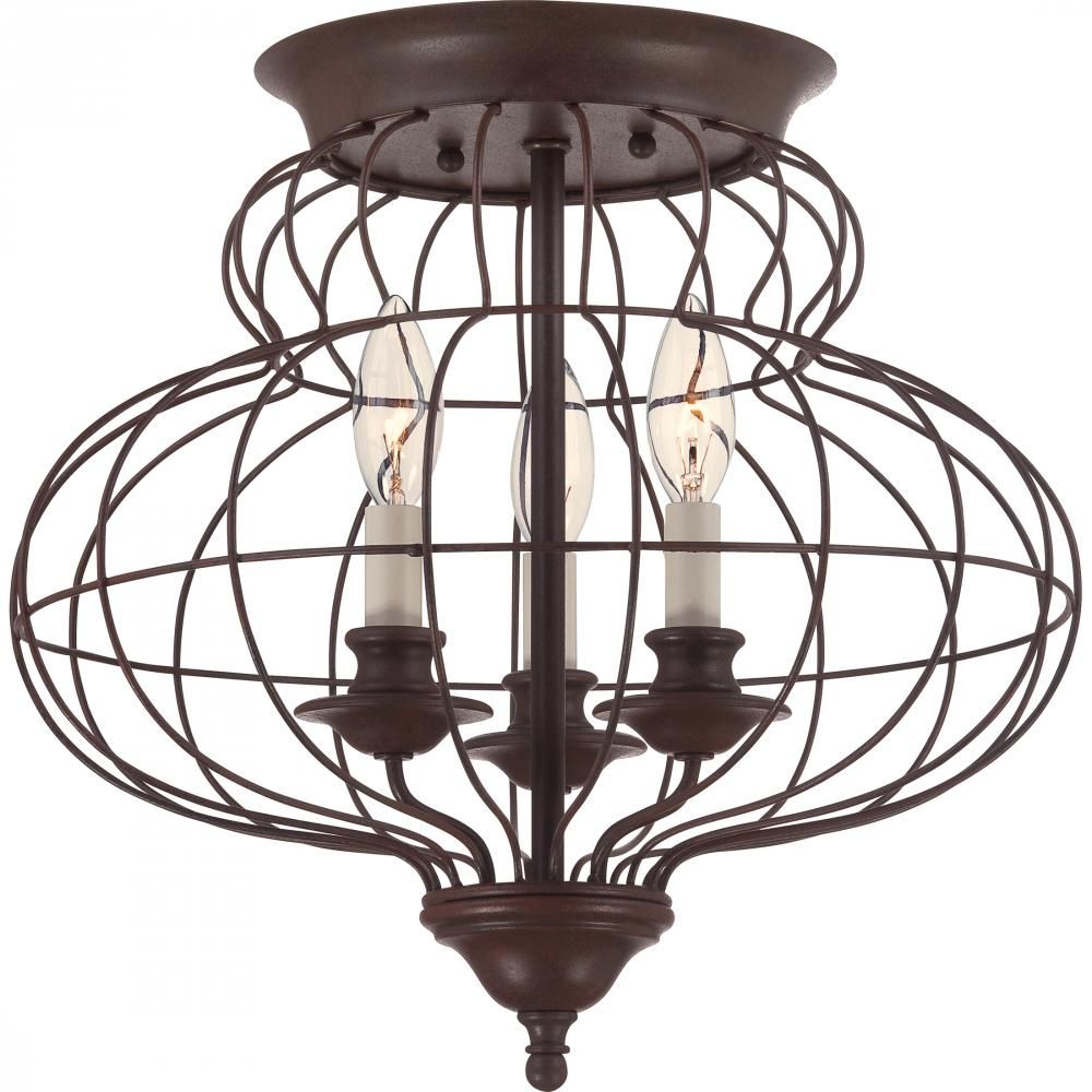 Barnhouse Lighting: This Cage Flushmount From Quoizel Has A Rustic Antique