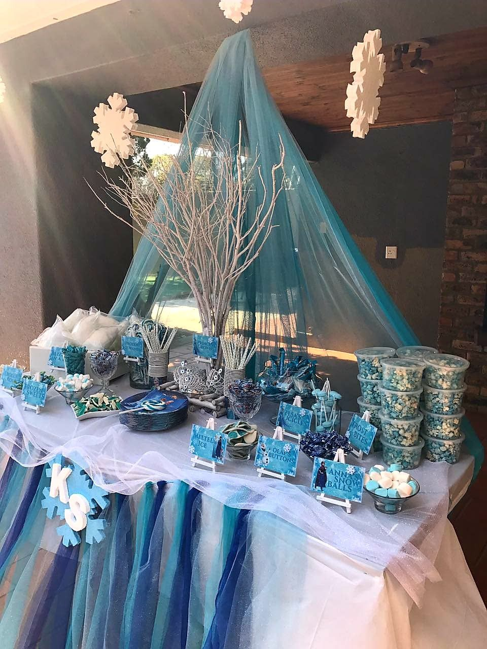 Frozen Themed Birthday Party Table Decor Candy Table Cumpleanos Frozen Fiesta Frozen Frozen
