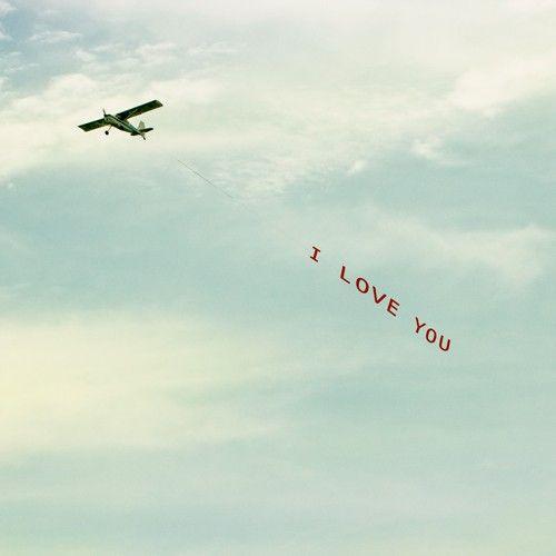 romance pilot airplane sky teal blue wispy clouds 8x8 art photography - I Love You