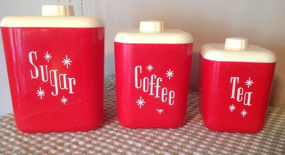 Lustro Ware Atomic Canister Set, Red 40\'s Or 50\'s, Sugar, Coffee ...