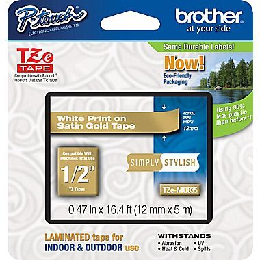 Brother Tze Mq835 1 2 P Touch Label Tape White On Satin Gold At Staples In 2020 Label Maker Tape Label Printer Gold Tape