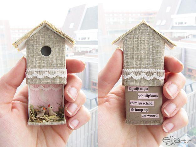 Bird house con scatola fiammiferi.
